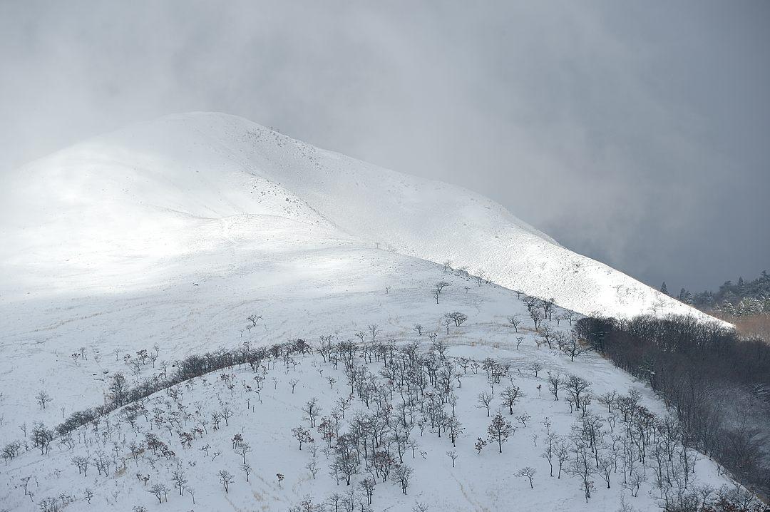 【09:59】 煙る由布岳、登山者二人