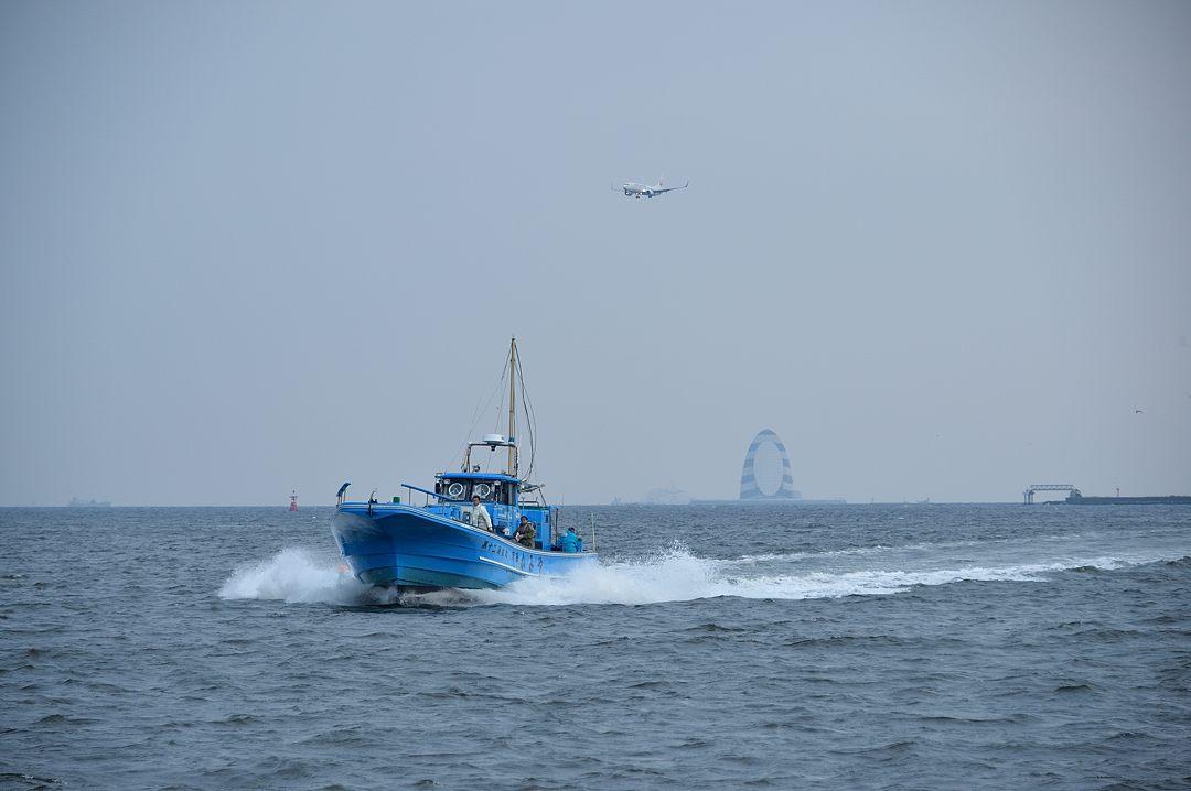 帰港する釣り船