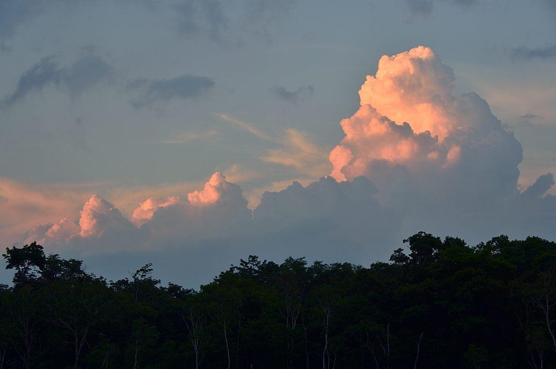 夕陽に色付く入道雲