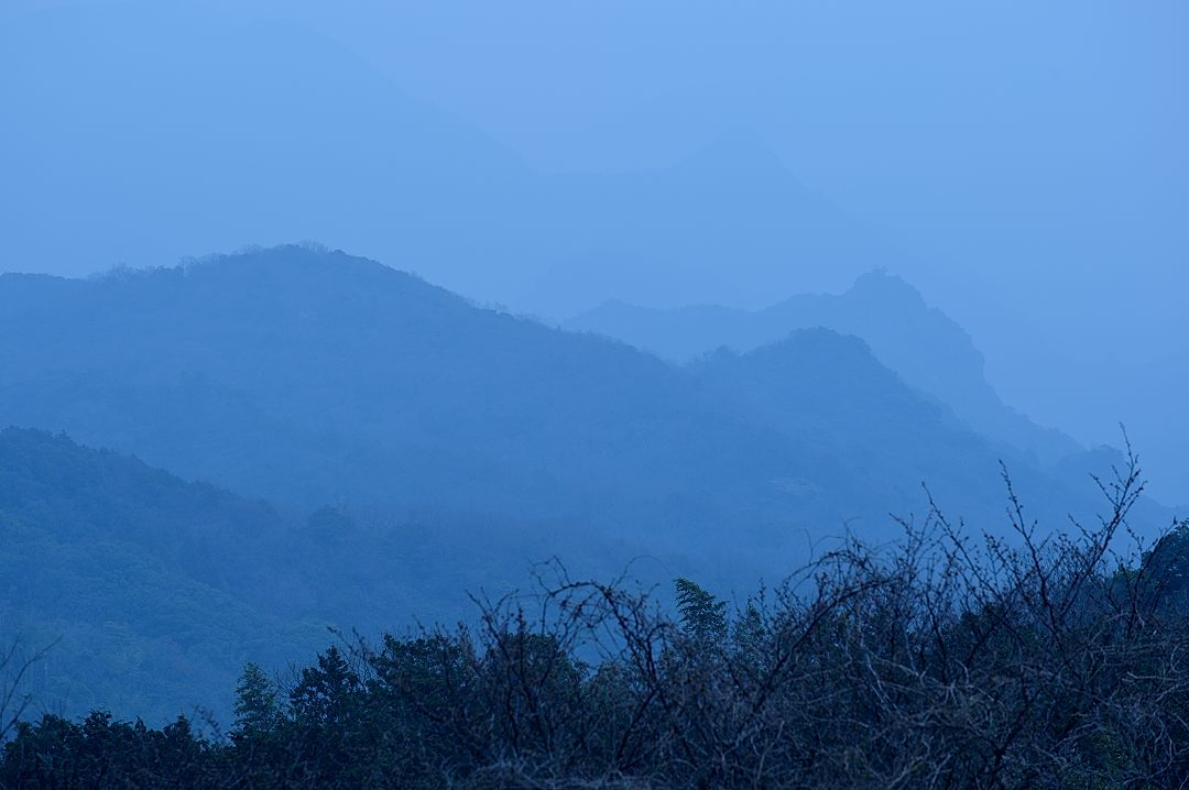 【06:51】 朝靄に山が霞む