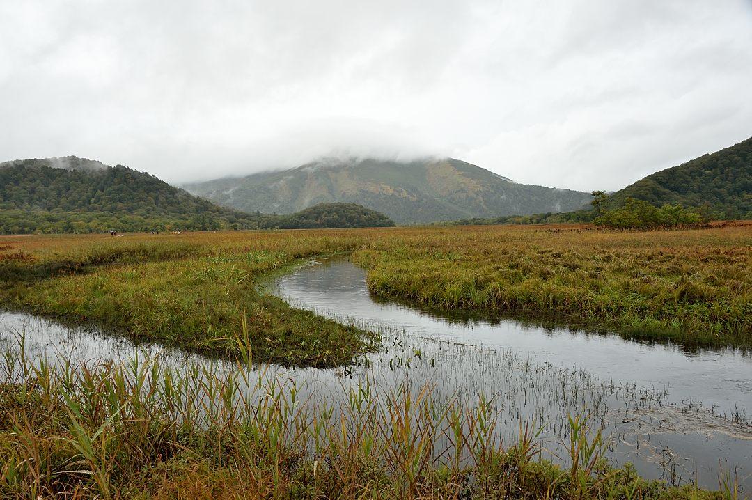 雨雲に隠れる至仏山(ビューポイントより)