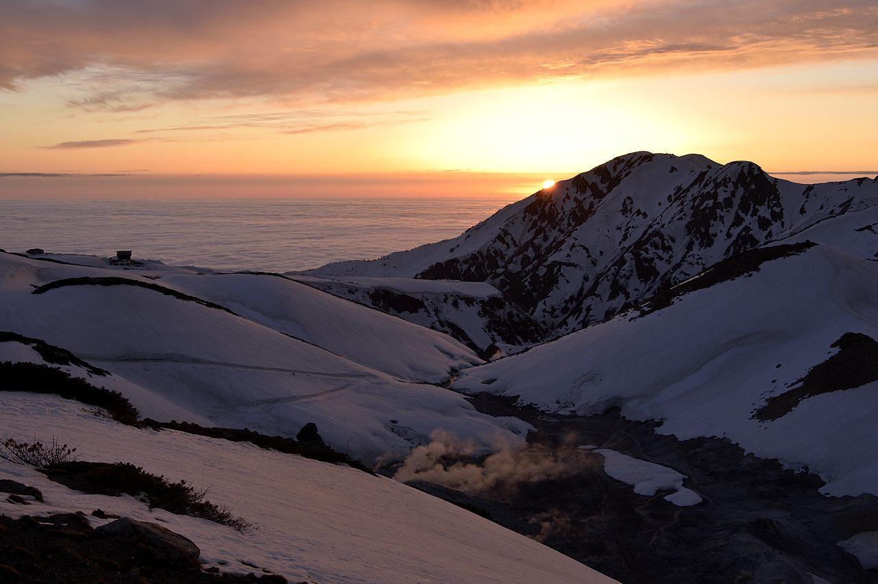 大日岳の向うに日が沈む