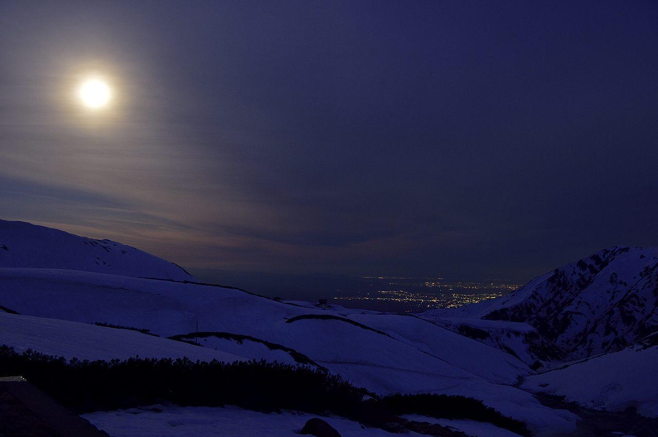 月光に浮ぶ雪山